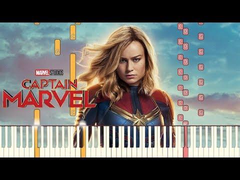 Captain Marvel - Main Theme  Piano Tutorial Synthesia