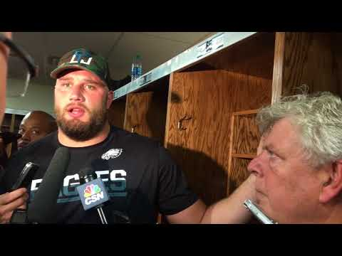 Philadelphia Eagles Lane Johnson talks to reporters after loss to Chiefs