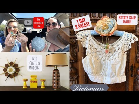 Come Estate Sale Shopping With Us! THE RECYCLED LIFE | Mid Century Modern | Estate Sale Haul