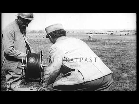 French army uses observer in a balloon to obtain information about the enemy in W...HD Stock Footage