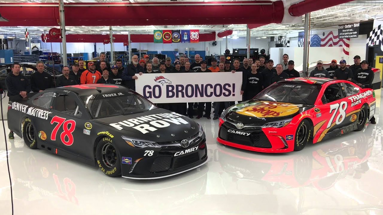 Furniture row racing cheers for the denver broncos youtube for Furniture row racing