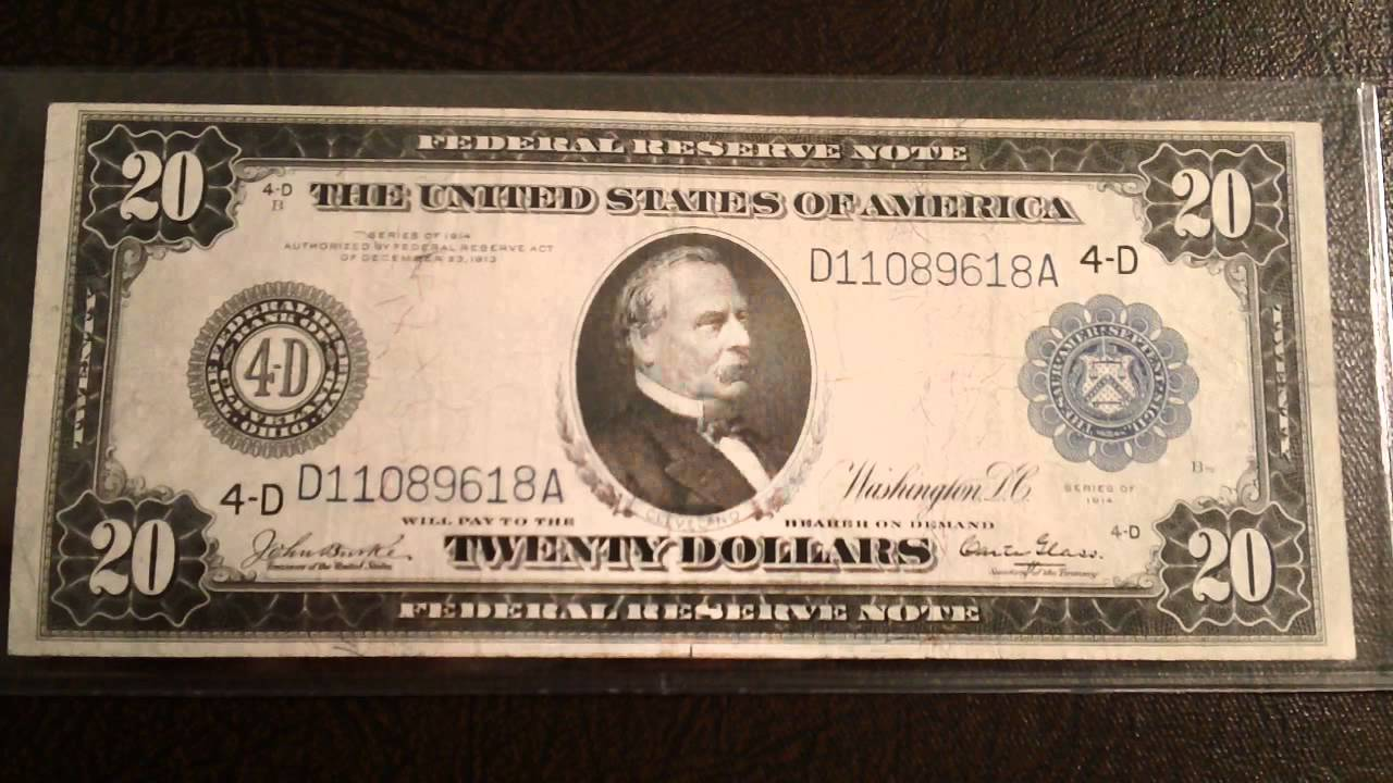 Beautiful 1914 20 Federal Reserve Bank Note New Currency Acquisition You