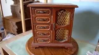 Vintage Wooden Jewelry Music Box Cabinet Drawers Hidden Compartment