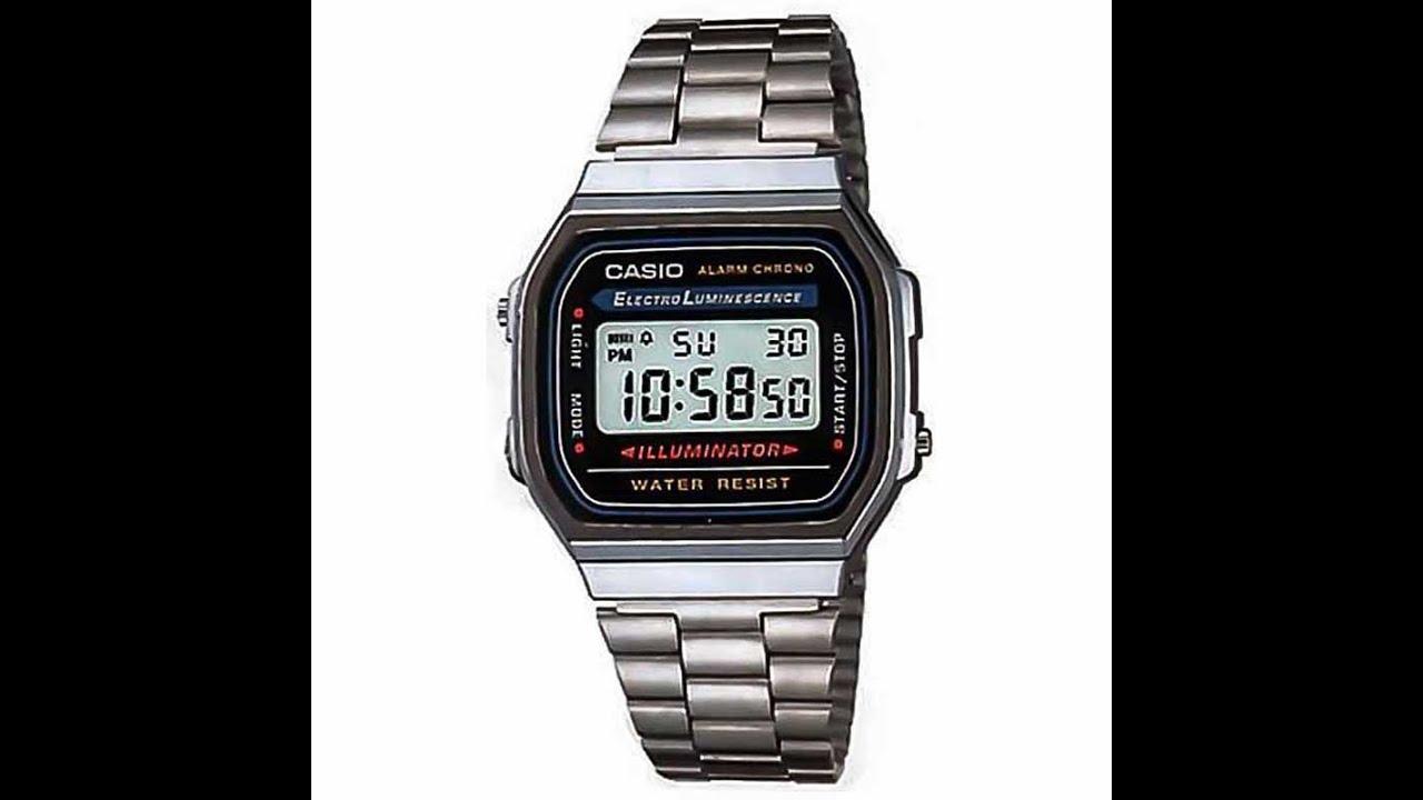 8b51cb23be458 Relógio Casio Vintage A168WA-1WDF Prata - YouTube