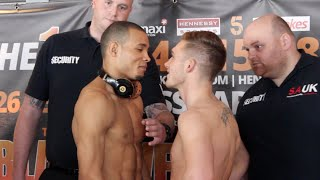 INTENSE!! -NICK BLACKWELL v CHRIS EUBANK JR OFFICIAL WEIGH IN & HEAD TO HEAD / BLACKWELL v EUBANK JR