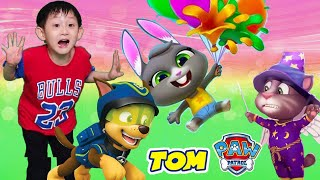 😻🎈 Treehouse Rescue Party with PAW PATROL Balloons & Nate - Talking Tom Shorts in Real Life & more