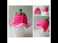 Flower Baby Girl Hat - Hot Pink and Light Pink Tulip Hat  -