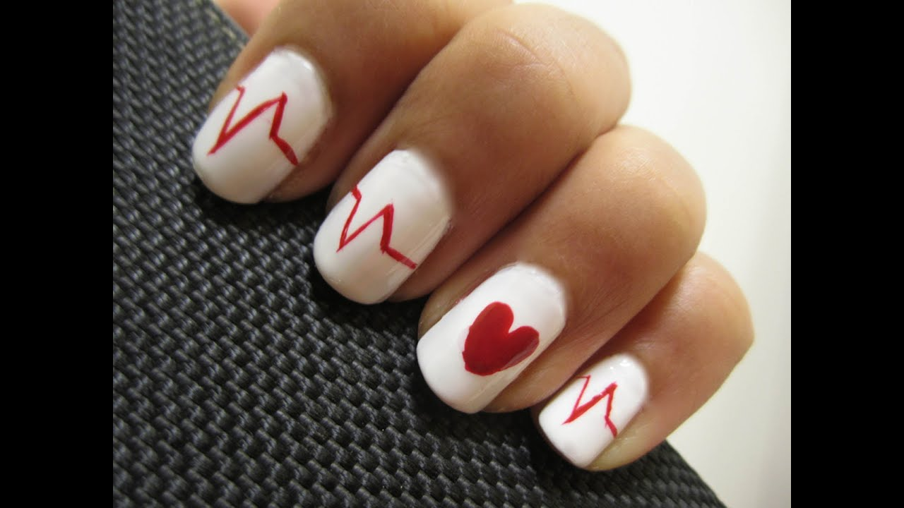 Valentine\'s Day Heartbeat Nails - YouTube