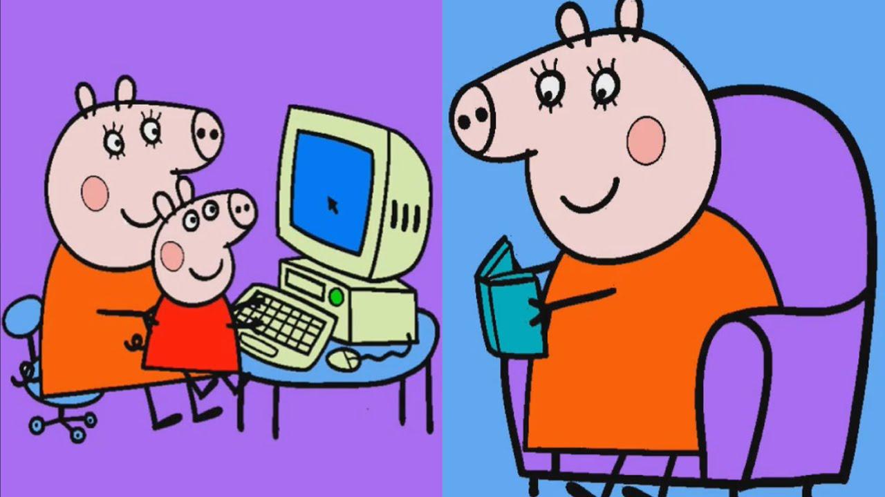 свинка пеппа раскраски Peppa Pig Colouring игра для детей