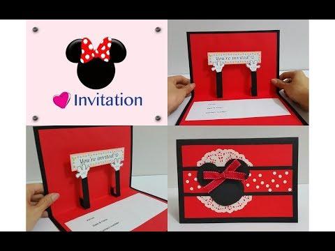 DIY#6: Kids Party Handmade Invitation Card Idea - Mickey/Minnie Themed
