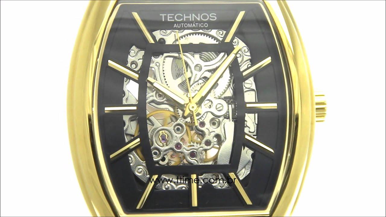 Relógio Technos Esqueleto Automático MW6808A 2P - YouTube b171a5e6be