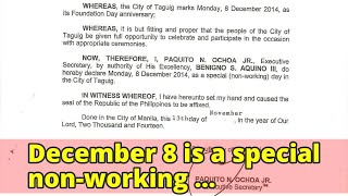 December 8 is a special non-working holidayDecember 8 is a special non-working holiday