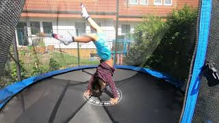 Sportfunfamily -time Jumping On Trampoline At Homemy Cute Boy Does Flip Exercisesanna Cambodia