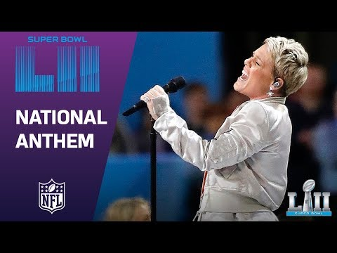 P!nk Belts Out the National Anthem!  Super Bowl LII NFL Pregame