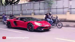 2 Lamborghinis Driving through small roads of Bangalore !!