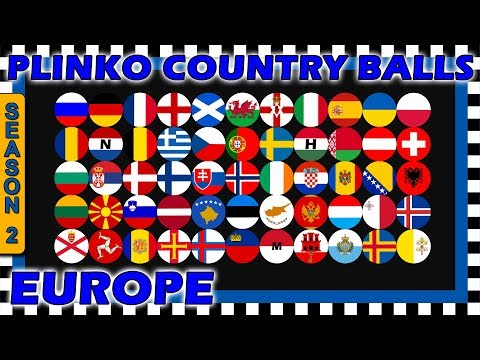 Marble Race Plinko Country Balls World Tournament - Europe Race 1 of 6 Season 2- Algodoo