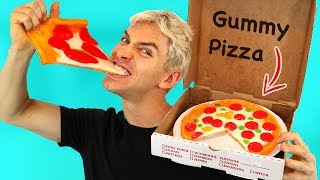 GUMMY FOOD PIZZA!! (GUMMY FOOD VS. REAL FOOD)