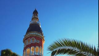 Tower against the blue sky and palm trees. Free stock video. footage Free. Rec.709 1080p 60fps #20