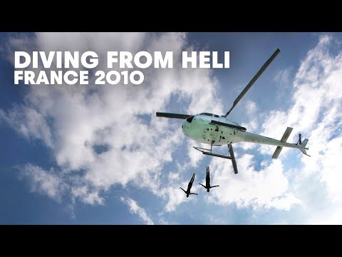 Diving from heli in France - Red Bull Cliff Diving 2010