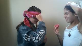 Sister teaches me how to do makeup... BLINDFOLDED (part 1)