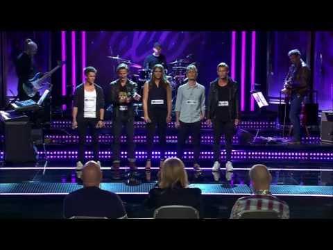 Jonathan, Erik, Adam, Alexander och Elina i gruppmomentet av Idols slutaudition - Idol Sverige (TV4)