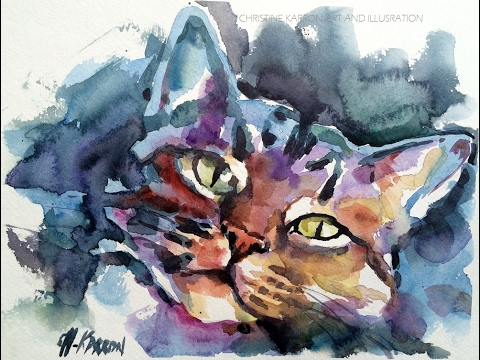 Loose Watercolor Sketch Demo Cat Portrait Painting By Ch