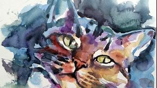 Loose Watercolor sketch demo Cat portrait painting by Ch.Karron