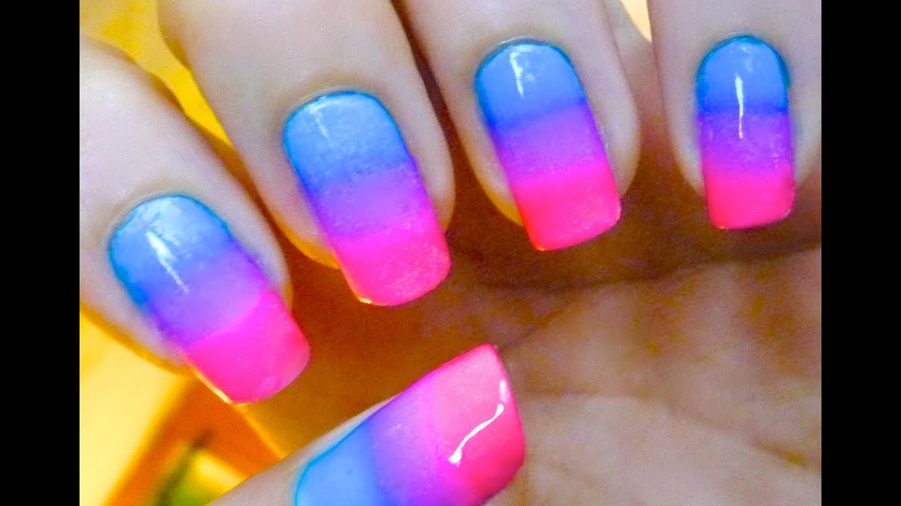 Ombre Gradient Nail Art Design! Pink and Blue - YouTube