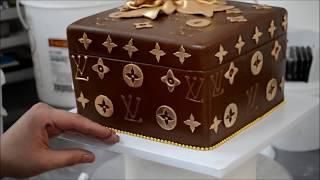 Украшение тортов | Как украсить торт в форме коробочки Louis Vuitton