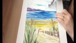 Encaustic Art : Seascape Birds