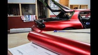 Mazda RX7 FD3S Satin Chrome Red Wrap