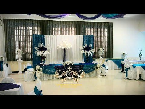 Faos events decoracion de salon color morado y azul for Decoracion salon gris y turquesa