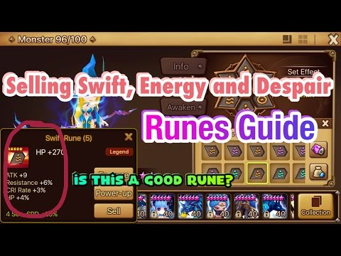 Summoners War - Selling Swift, Energy and Despair Runes Guide