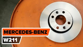 How to change front brake discs / brake rotors on MERCEDES-BENZ W211 E-Class [TUTORIAL AUTODOC]