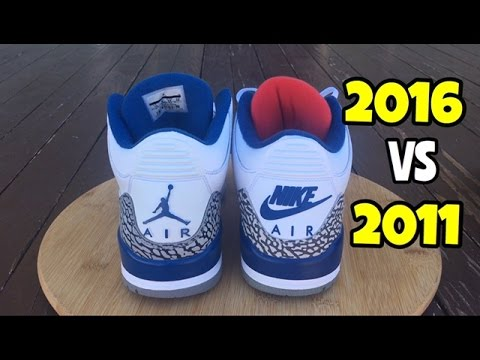 5b0ab8abefd5 Air Jordan 3 True Blue comparison 2016 vs 2011 - YouTube
