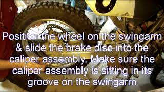 Motorcycle rear wheel removal, re installation & wheel alignment