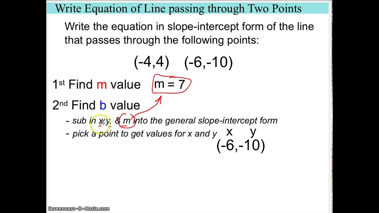 Write equation of line given 2 points youtube write equation of line given 2 points falaconquin