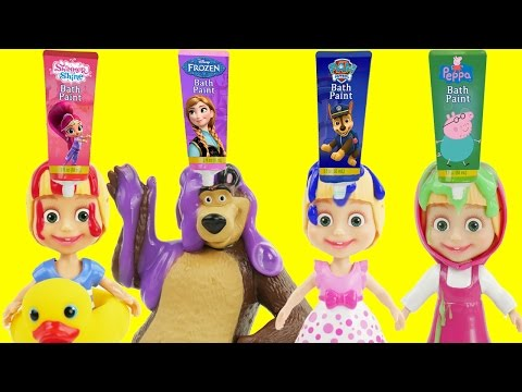 Thumbnail: Best Masha And The Bear Bath Time Fingerpaint Set Water Toys & Lollipop Dress Play Doh Crying Parody