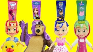 Best Masha And The Bear Bath Time Fingerpaint Set Water Toys & Lollipop Dress Play Doh Crying Parody