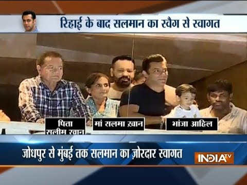 Salman Khan returns home after getting bail in poaching case