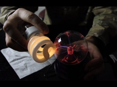 Plasma Globe Makes a Light Bulb Glow (Wireless Electricity?)