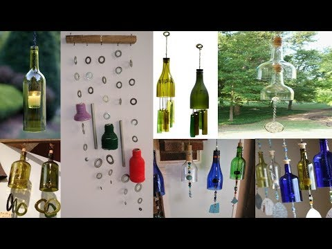 DIY-Art Attack   wind chime using hollow tubes and recycle glass bottle.