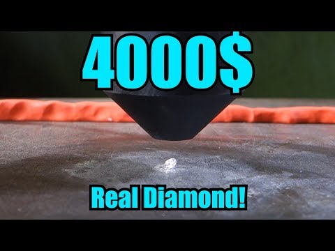 Crushing diamond with hydraulic press