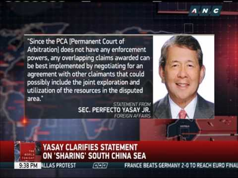 Yasay clarifies statement on 'sharing South China Sea'