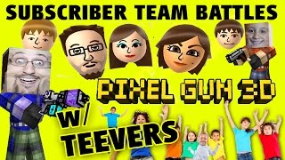 Let's Play Pixel Gun w/ Teevers! FGTEEV Subscriber Team Battles! w/ Mike & Dad (iOS Face Cam)
