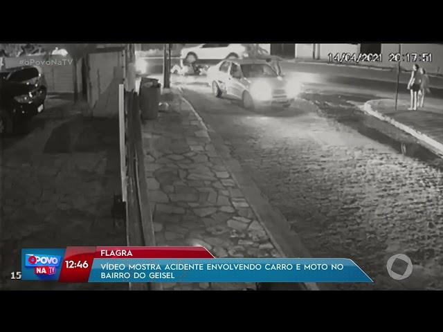 Vídeo mostra acidente envolvendo carro e moto no bairro do Geisel- O Povo na TV
