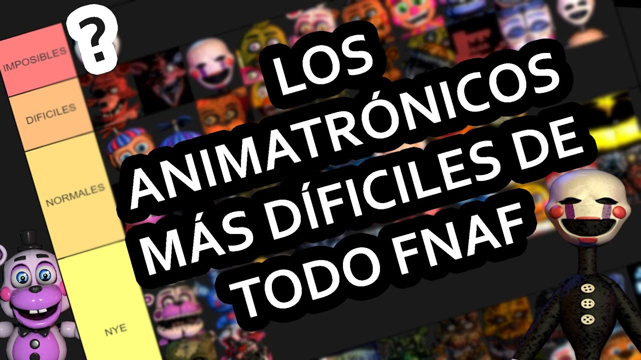 FNAF Tier List - LOS ANIMATRÓNICOS MÁS DIFÍCILES de la Ultimate Custom Night