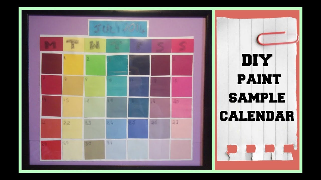 Diy Calendar For School : Diy paint sample calendar back to school youtube