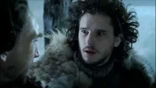 Jon Snow and Benjen Stark talking on the Wall