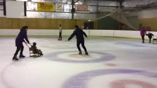 Barry on ice scaring rink